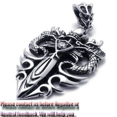 New Two Dragons Style Men Women Stanless Steel Pendant Necklace Chain Gift Box - $76nok (free)
