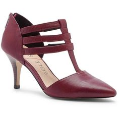 Sole Society Mallory T-Strap Heel ($70) ❤ liked on Polyvore featuring shoes, pumps, cranberry, mid heel shoes, pointed-toe pumps, pointy toe shoes, stretch leather shoes and pointy-toe pumps