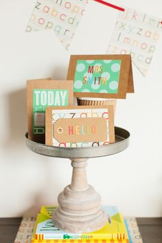 How about making a 1st Day of School card for the new teacher? Back to School Celebration :: Michael's Craft Challenge #michaelsbts