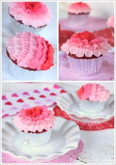 Ombre Ruffle Cupcakes for Valentine's Day