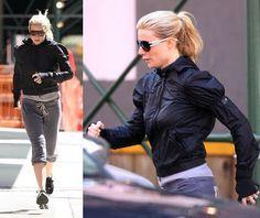 Gwyneth Paltrow's workout looks: aviators, Adidas by Stella McCartney jacket, and Free City sweats.