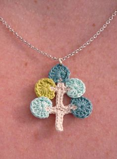 Crocheted Necklace Mod Tree design blues and green by loopdeedoo