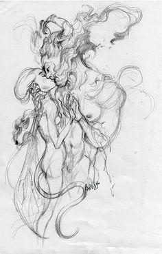 Love in fantasy world pencil art ใ น ป 2019 графика искусство แ ล ะ рисунки Art Drawings Sketches, Love Drawings, Dark Fantasy Art, Dark Art, Arte Obscura, Art Sketchbook, Erotic Art, Art Inspo, Art Reference
