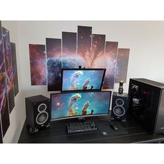 An awesome setup with some pretty sick wall art. By Redditor ThirdScepter. - - Check out the link in my bio! - Tag a friend who might like this page! - DM or Kik me your setup to be featured! #setup #dreamsetup #workstation #battlestation #workspace #pcgaming #deskspace #desksetup #gaming #game #gamer #gamingsetup #pc #pcmasterrace #computer #technology #clean #pcgaming101 #apple #interiordesign #dreamroom #style #goodvibes #instagood #design #trademarkedsetups #f4f #pcgaminghub #intel…
