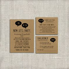 Wedding Invitation Suite DEPOSIT - Trendy, 2015, Digital, Printable, Custom, DIY - Quirky, KRAFT Paper, Funny, Hipster (Wedding Design #43)