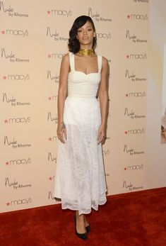 Rihanna Evening Dress - Rihanna looked sweet with a spicy twist for the launch of Nude at Macy's.