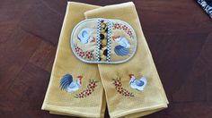 Rooster and Hen Potholder with Towel