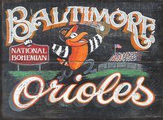 Baltimore Orioles  vintage print original art by ZekesAntiqueSigns, $15.00