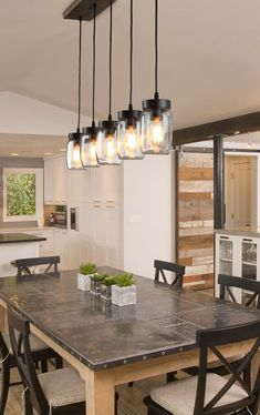 LNC Island Lights Farmhouse Glass Mason Jar Linear Chandeliers - All About Decoration Kitchen Ceiling Lights, Kitchen Lighting Fixtures, Room Lights, Industrial Kitchen Island Lighting, Farmhouse Dining Room Lighting, Dining Table Lighting, Farmhouse Light Fixtures, Dining Room Table, Homemade Home Decor
