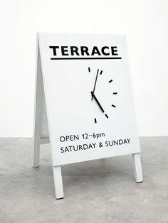 Opening hours freestanding a-frame signage / 흔하지만.