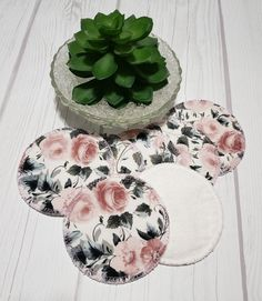 Looking for ways to take small steps into a zero waste, green, eco-friendly lifestyle? These beautiful makeup remover pads with Pink Roses design are the perfect way to get started going green and saving money for your wallet. They work equally well as makeup remover pad, facial cleaning cotton Makeup Remover Pads, Green Makeup, Cotton Pads, Bridal Shower Favors, Rose Design, Zero Waste, Pink Roses, Pink And Green, Printing On Fabric