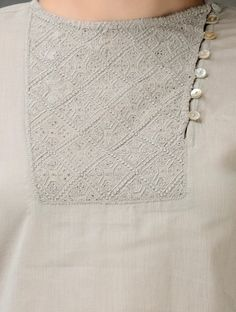 Grey Embroidered Cotton Top Salwar Neck Designs, Churidar Designs, Kurta Neck Design, Neck Designs For Suits, Saree Blouse Neck Designs, Neckline Designs, Kurta Designs Women, Dress Neck Designs, Stylish Dress Designs