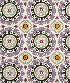 $15/yd - Waverly Solar Flair Onyx/Lilac Fabric - make lamp shade and chair pillow, possibly