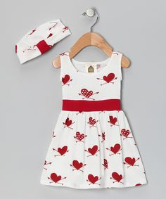 Red Heart Organic Babydoll Dress & Beanie - Infant & Toddler