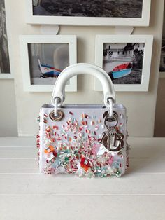 Lady Dior Satin Hand-Embroidered Micro 15cm Bag with Beaded Sequins, White - Shop Ms Fashion Junkie
