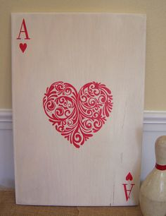 "Ace of Hearts - 12"" x 18"" Plywood Hand Painted Sign Valentine Day Vintage Inspired.  via Etsy."