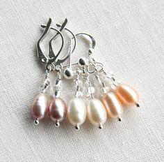 Dainty Pearl Earrings Sterling Silver Earrings Wedding Earrings Bridesmaids Gift for her Leverback Stud or Hook Mauve White Peach Pink Pearl by KapKaDesign on Etsy