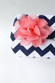Bridesmaid Clutch Navy and Coral Pink Bridesmaid by allisajacobs