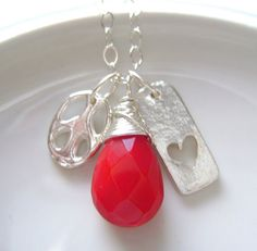 Handmade Necklace - Heart Tag charm - Peace charm - Red Briolette - Peace and Love