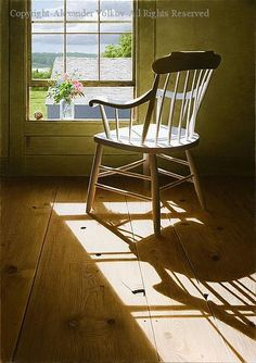Alexander Volkov a Russian native started painting when he was a Window View, Open Window, Window Art, Life Paint, Through The Window, Morning Light, Chairs For Sale, Light And Shadow, Beautiful Artwork