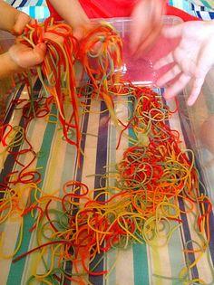 Rainbow Pasta sensory table