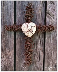 """6"""" Rusty Wire Wall Cross with white Turquoise heart focal"""