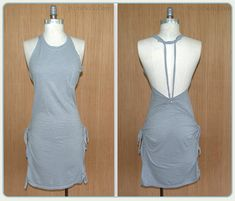 no sew shirts No Sew, Grey, Summer Tee-shirt Dress: DIY. Working on no sew tee shirts is probably my favorite thing to do. Figuring out and creating different designs is alwa Zerschnittene Shirts, Diy Cut Shirts, T Shirt Diy, Sewing Shirts, T-shirt Refashion, Diy Clothes Refashion, Diy Dress, Dress Outfits, Dress Sewing