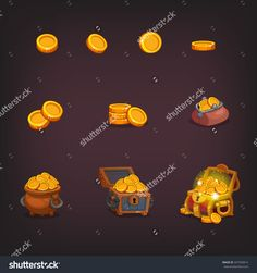 Icons Coins For The Game Interface Stock Vector Illustration ...