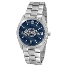Game Time Unisex MLB-ELI-MIL Elite Milwaukee Brewers 3-Hand Analog Watch Game Time. $99.95. Water-resistant to 30 M (99 feet). Solid stainless steel custom link bracelet with fold over closure and hidden safety. Durable mineral glass crystal protects watch from impact and scratches. Solid stainless steel case, case back & crown. Official licensed team logo's dial with team colors, solid Japanese quartz analog movement with sweeping second hand, luminous hands,  ful...