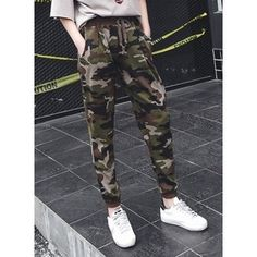 Drawstring Waist Camo Sweat Pants