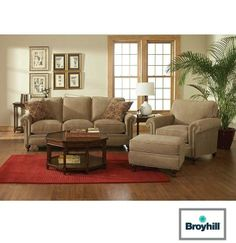 Classic Traditional 4 Piece Living Room Package Featuring Plush Microsuede Comfort & Nailhead Trim
