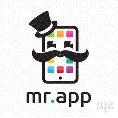 Logo Sold Clean, simple and modern design of a smartphone with apps created to look like a fun character face with a top hat and a moustache.
