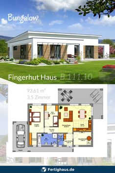 Barrier-free Bungalow by Fingerhut Haus ➤ Get all the information about the house with a .Barrier-free bungalow by Fingerhut Haus ➤ Get all information about the house by clicking on the picture. Flat Roof House Designs, Tiny House Design, Modern House Design, Small Wooden House, Small House Plans, Bungalow Floor Plans, House Floor Plans, Prefabricated Houses, Bungalows