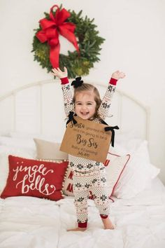Here are over 70 baby announcement ideas for the new mom! Your pregnancy announcement is such a special time. These ideas will give you the perfect inspiration to share your big news! Baby Surprise Announcement, Second Baby Announcements, Big Sister Announcement, Christmas Baby Announcement, Baby Announcement Pictures, Pregnancy Announcements, Baby Christmas Gifts, Christmas Signs, Christmas Nails