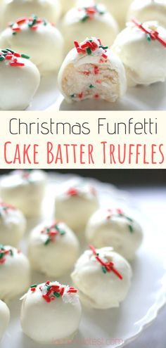 christmas cake Christmas Funfetti Cake Batter Truffles - These homemade truffles are an easy and fun no-bake treat for the holidays! They can be made from scratch in just 20 minutes and make for the perfect Christmas gift! Christmas Truffles, Christmas Snacks, Christmas Cooking, Holiday Treats, Holiday Recipes, Christmas Parties, Christmas Treat Gifts, Christmas Deserts Easy, Christmas No Bake Treats
