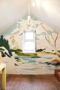Painting by numbers wall mural. Love that idea... here it is in process.