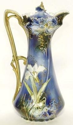 A rare R. Prussia cobalt chocolate pot having a leaf mold with applied gilt handle, decorated with royal blue & yellow stemmed flowers, gold highlighted green leaves, accented with gold flower finial, signed with the red & green wreath mark. Antique China, Vintage China, Vintage Tea, Vintage Perfume, Deco Retro, Keramik Vase, Chocolate Pots, Russian Chocolate, Dove Chocolate