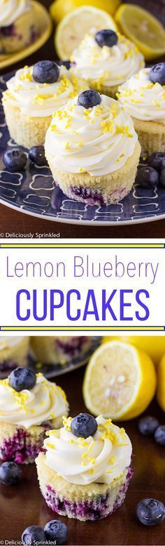 Lemon Blueberry Cupcakes with Lemon Buttercream Frosting. I love lemons, I love blueberries...maybe I'll try with a sugar substitute and cream cheese frosting.