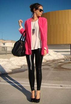 White Oversized Tee, Pink Blazer, SIlver Drop Necklace, Leather Leggings, Black Pumps, Black Sunnies, Black Handbag