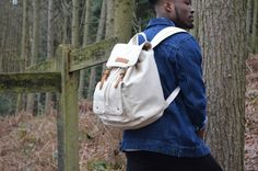 Kurtis Paul Mens Canvas Backpack / Rucksack in Cream