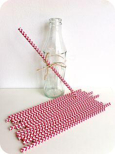 Pajitas de papel chevron rojo - Shop We Love Parties Bcn