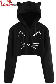 Women Casual Long Sleeve Cat Kitty Print Short Hoodies Blouse Pullover Autumn Cute Cat Ears Sweatshirts crop top hoodie for Girl Girls Fashion Clothes, Teen Fashion Outfits, Mode Outfits, Outfits For Teens, Girl Outfits, Fashion Blogs, Style Clothes, Fashion Fashion, Fashion Trends