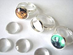 DIY COMBO 10 Silver Plated  Adjustable Ring by theglassconnection, $6.99