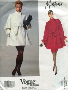 Vogue 2758 Coat Skirt Montana Paris Design Original Size Uncut OOP for sale online Coat Pattern Sewing, Vogue Sewing Patterns, Coat Patterns, Yves Saint Laurent Paris, Double Breasted Jacket, Fitted Skirt, One Piece Dress, Vintage Skirt, Couture Collection