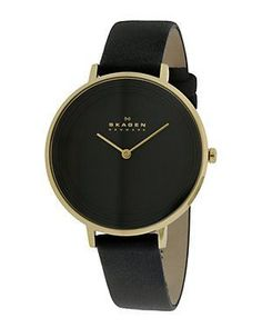 Skagen Women's Leather Watch. Black and gold with a leather black band  #drestfinds @drestmaker
