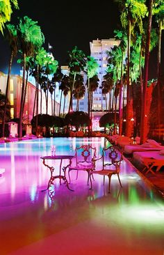 The pool at the Delano Hotel in South Beach, Miami, FL.
