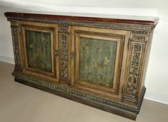 MARBLE TOP HAND PAINTED CREDENZA . SIDEBOARD . ENTERTAINMENT CONSOLE . CABINET