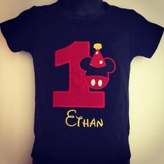 This awesome Birthday shirt or onesie comes embroidered with a red birthday number & Mickey mouse head, FREE PERSONALIZATION *PLEASE CHECK SHOP