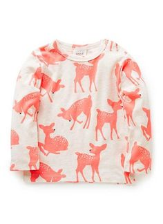 Polyester/Elastane blend Tee. Long sleeved tee, featuring all over fluro deer print. Ribbed neckline with snap opening on shoulder. Available in Raspberry Lemonade.