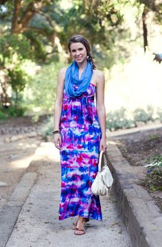 Bold watercolor print maxi dress @Alice Cartee & Trixie